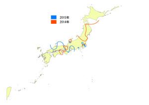 図1. 2014年と2015年の4月中旬までのムナグロの渡来ライン.2014年は,4/20頃までに東北太平洋岸で観察されており,4/24に北海道に到達.2015年は5/9日に北海道で観察された. Photo by  三木敏史