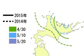図2. 2014年と2015年の北海道のチュウシャクシギの渡来ライン.2015年は,オホーツク海側への到達が早かった. Photo by 三木敏史