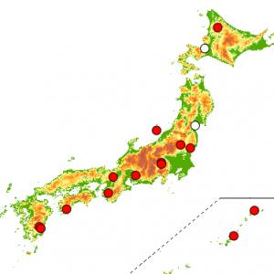 図1 モニタリングサイト1000 森林調査で越冬期に毎年調査を行なっている調査地の分布。白丸は2013年から毎年調査を行なっている調査地。