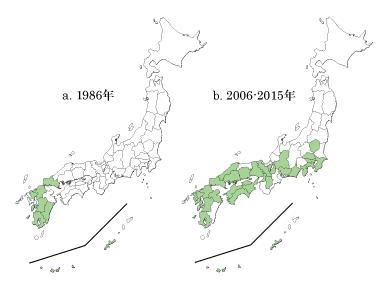 図1 1980年代後半(a)と2000年代後半以降(b)のヒクイナの越冬分布