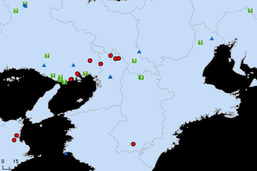 図1. 2016年2月までの関西地方における観察報告の分布。● がリュウキュウサンショウクイ,▲  が亜種サンショウクイ,?は亜種不明個体。
