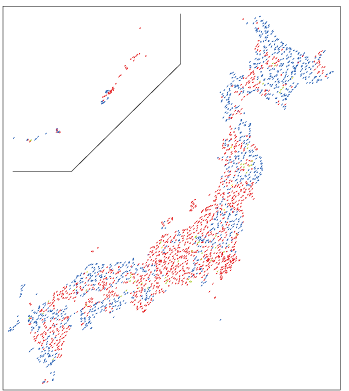 図1. 日本全国にある「現地調査」のコース。赤が調査者が決まっているコース。青はまだ決まっていないコース