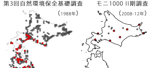 ミソサザイの分布の変化。赤丸がミソサザイが越冬期に記録された場所。環境省の第3回自然環境保全基礎調査の結果とモニタリングサイト1000の第2期の結果に基づく。1988年には記録されていない道央・道東域での越冬が記録されるようになっている